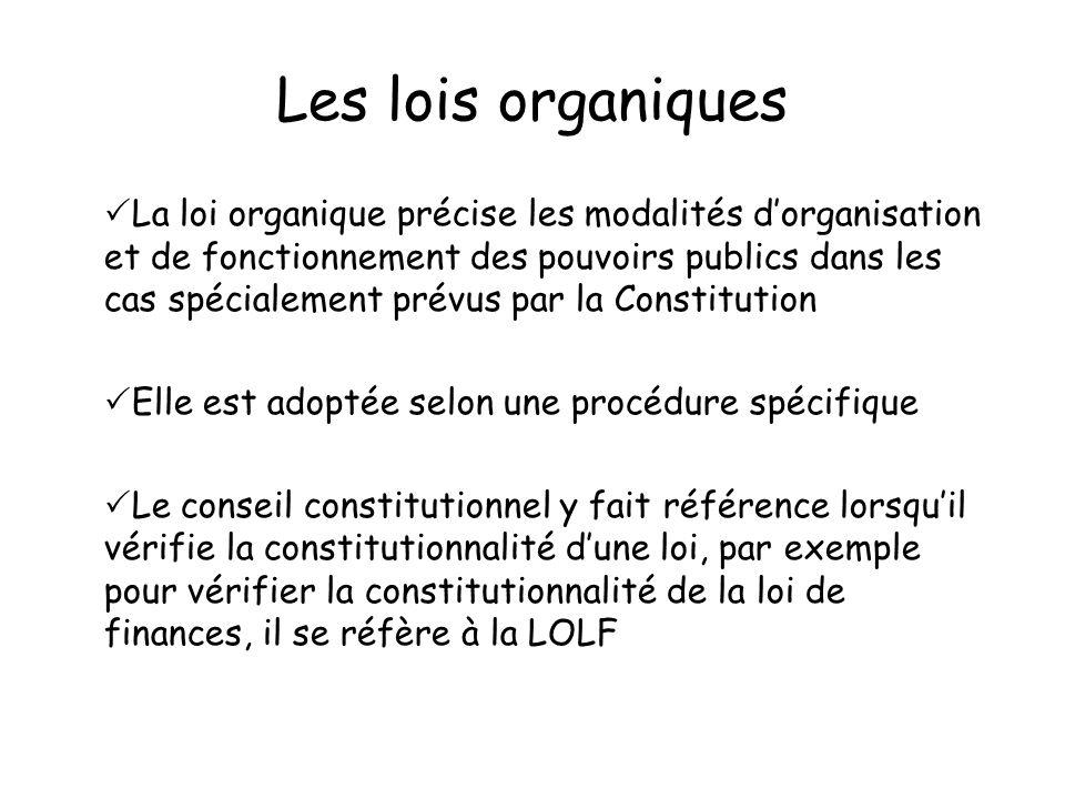 Les lois organiques