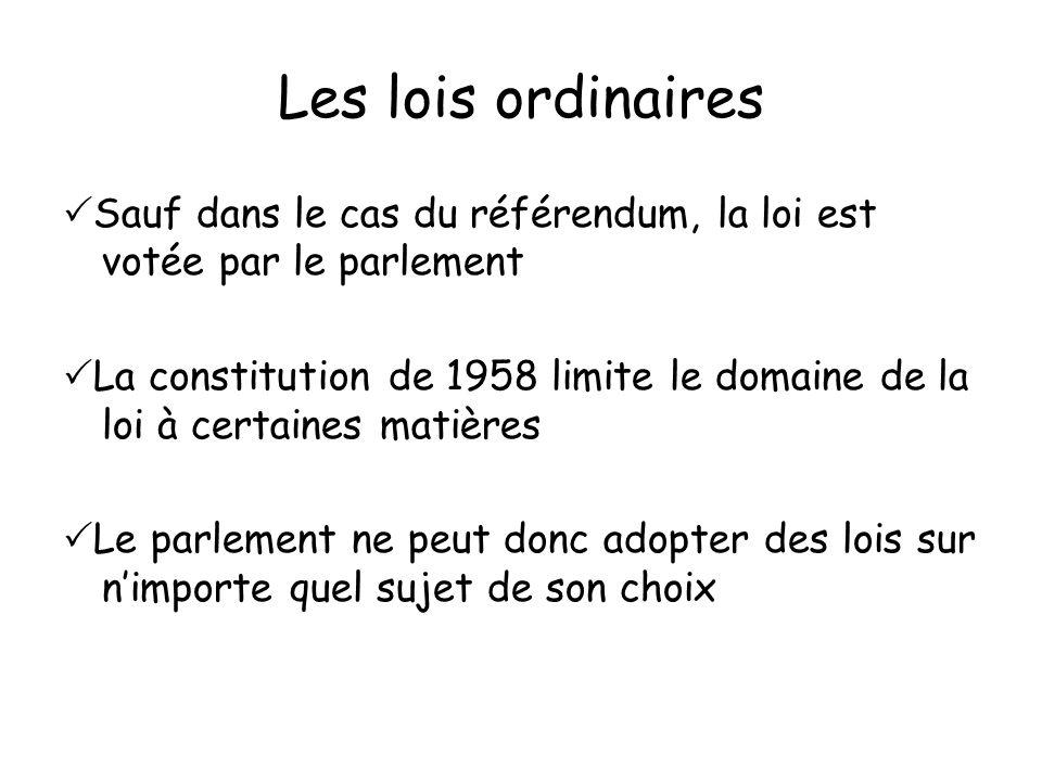 Les lois ordinaires Sauf dans le cas du référendum, la loi est votée par le parlement.