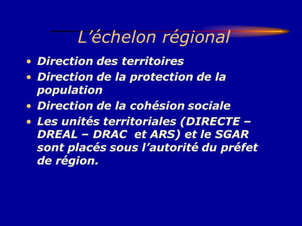 L'échelon régional Direction des territoires