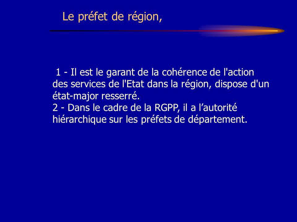 Le préfet de région, 1 - Il est le garant de la cohérence de l action des services de l Etat dans la région, dispose d un état-major resserré.