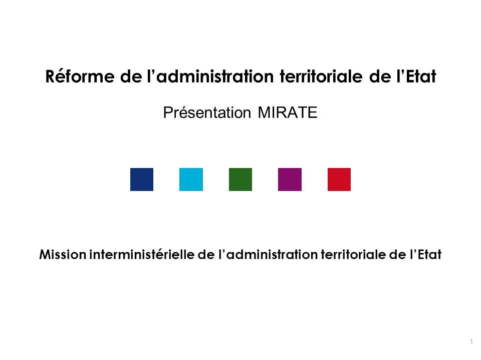 Réforme de l'administration territoriale de l'Etat Présentation MIRATE