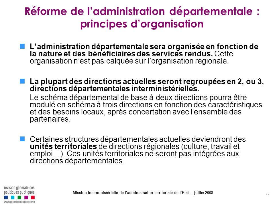Réforme de l'administration départementale : principes d'organisation