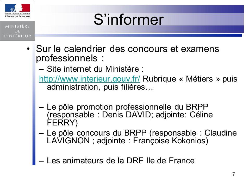 S'informer Sur le calendrier des concours et examens professionnels :