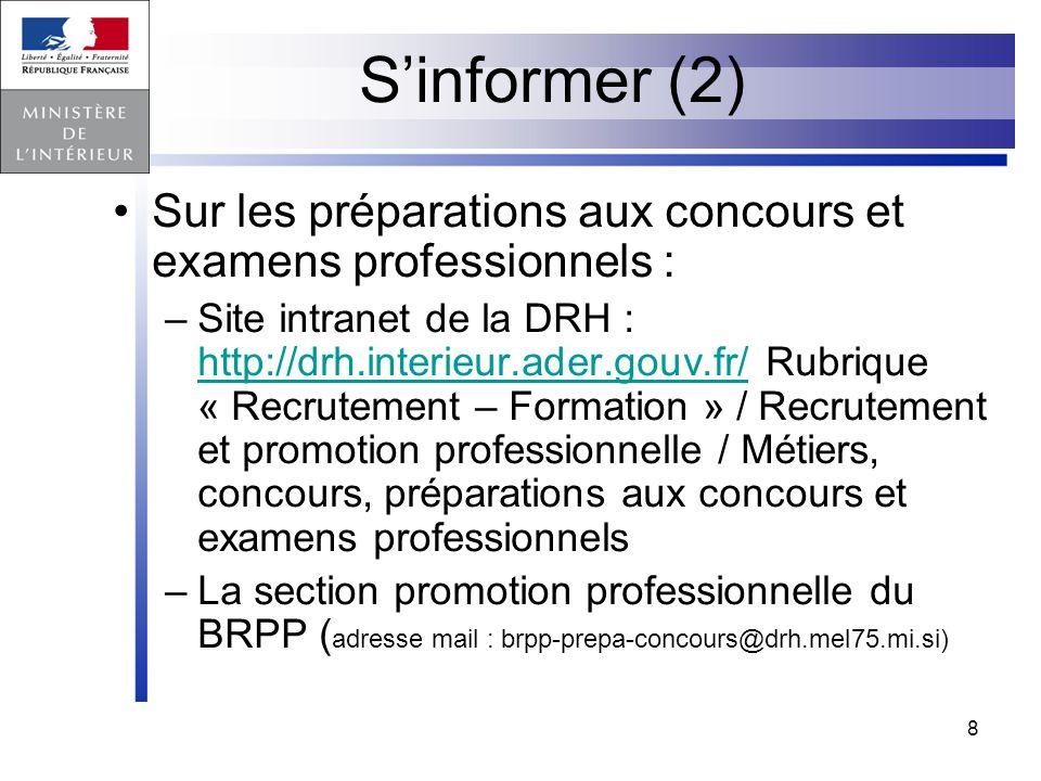 S'informer (2) Sur les préparations aux concours et examens professionnels :