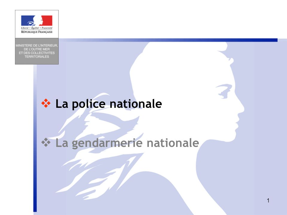 La police nationale  La gendarmerie nationale
