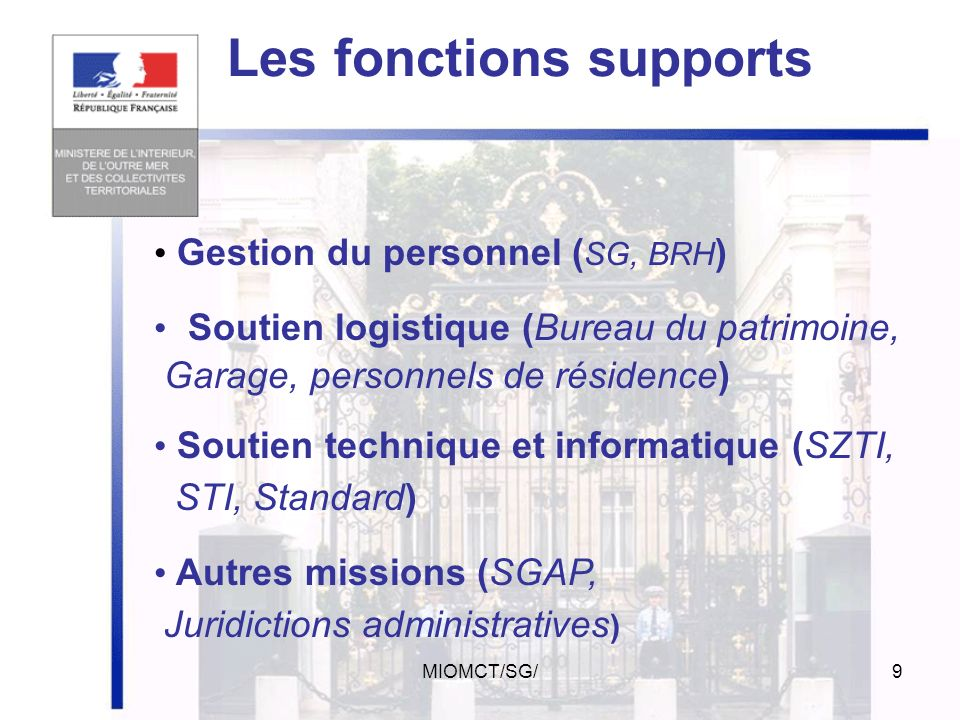 Les fonctions supports