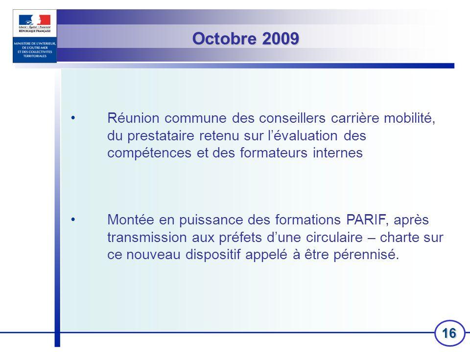 Octobre 2009 Réunion commune des conseillers carrière mobilité, du prestataire retenu sur l'évaluation des compétences et des formateurs internes.