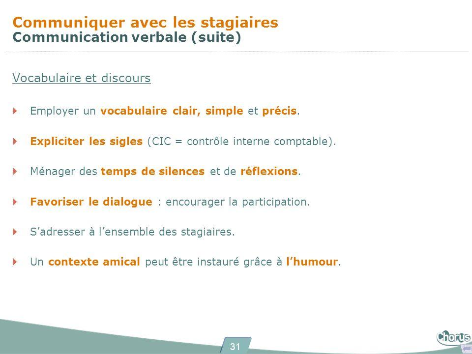 Communiquer avec les stagiaires Communication verbale (suite)