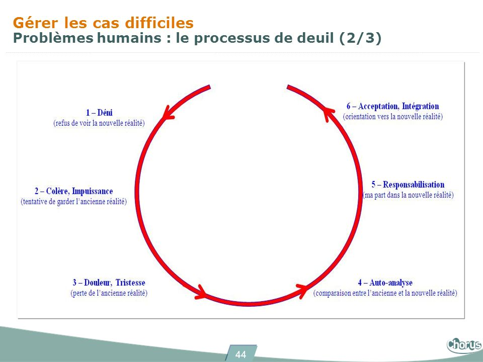 Gérer les cas difficiles Problèmes humains : le processus de deuil (2/3)