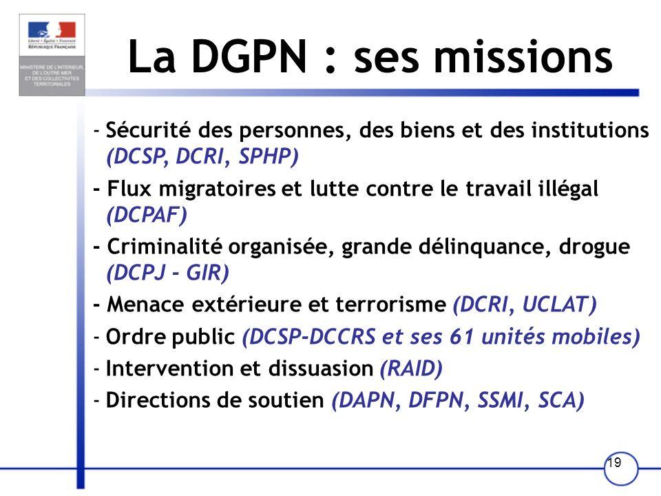 La DGPN : ses missions Sécurité des personnes, des biens et des institutions (DCSP, DCRI, SPHP)