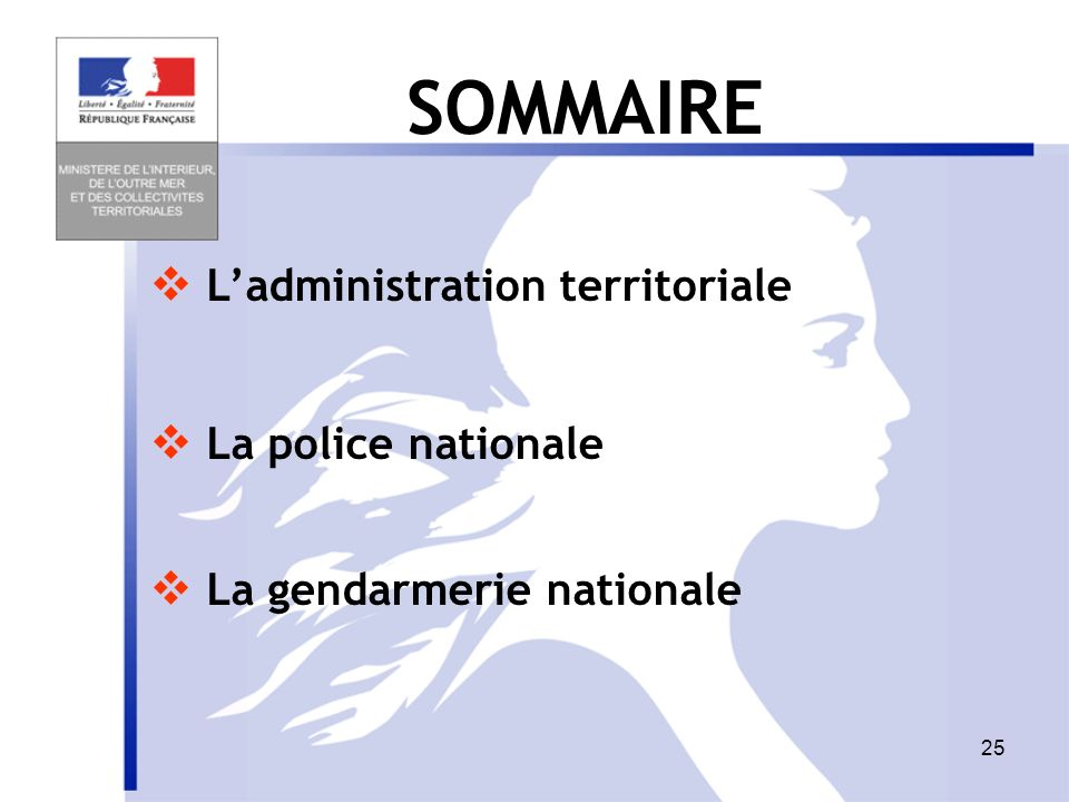 SOMMAIRE  L'administration territoriale  La police nationale