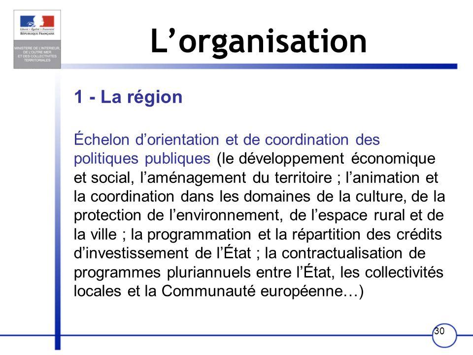 L'organisation 1 - La région