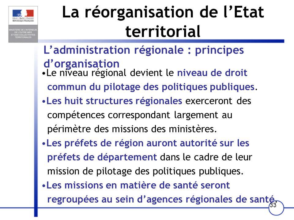 La réorganisation de l'Etat territorial