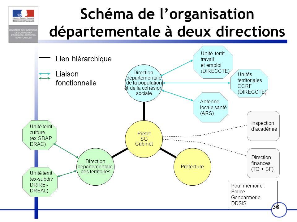 Schéma de l'organisation départementale à deux directions