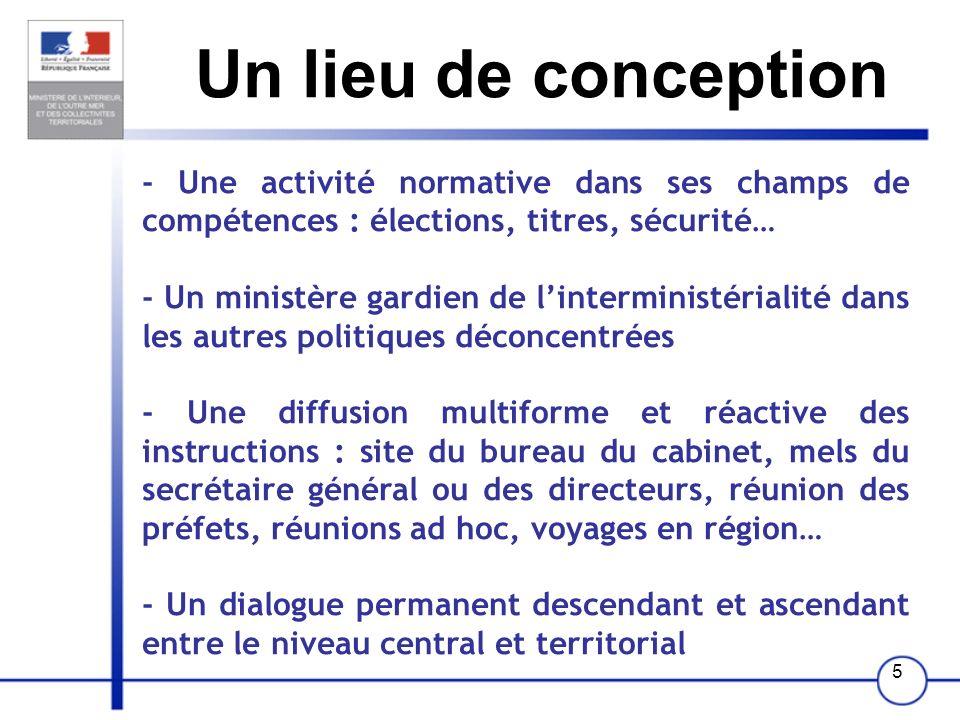 Un lieu de conception - Une activité normative dans ses champs de compétences : élections, titres, sécurité…
