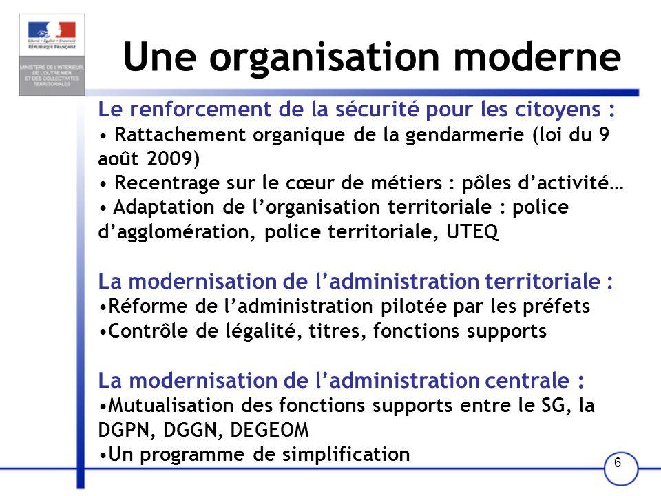 Une organisation moderne