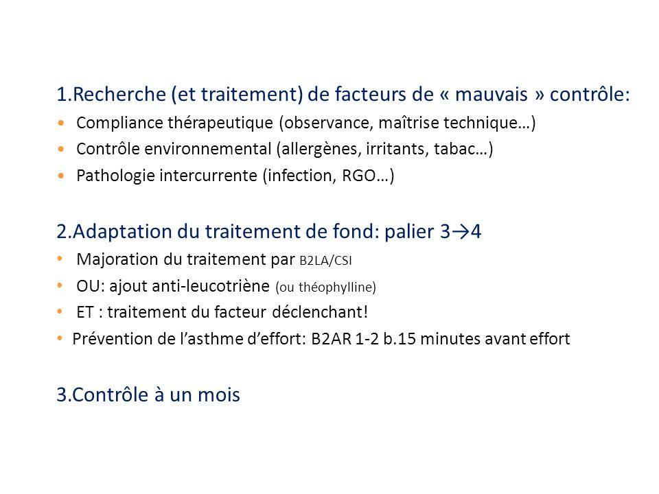 1.Recherche (et traitement) de facteurs de « mauvais » contrôle: