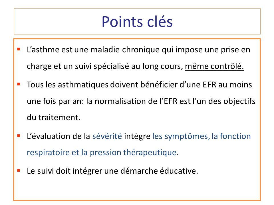 Points clés L'asthme est une maladie chronique qui impose une prise en charge et un suivi spécialisé au long cours, même contrôlé.
