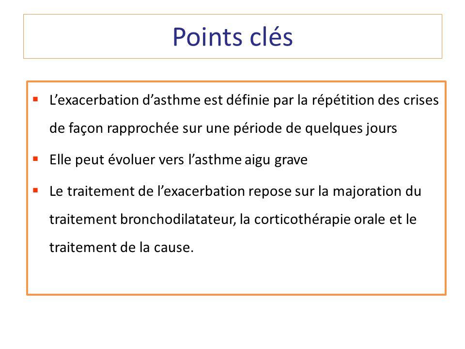 Points clésL'exacerbation d'asthme est définie par la répétition des crises de façon rapprochée sur une période de quelques jours.