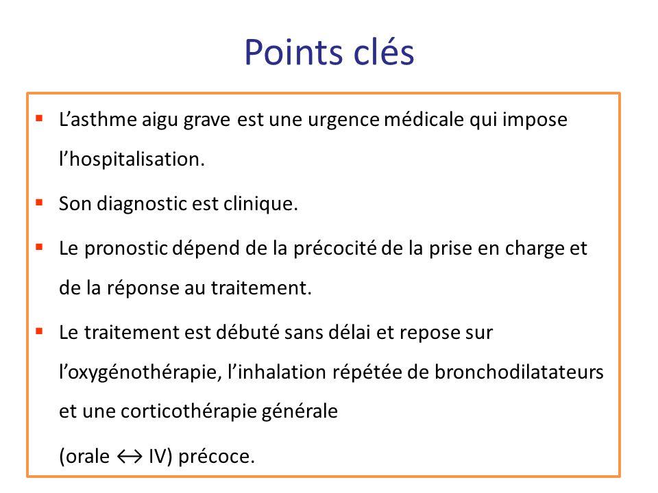 Points clés L'asthme aigu grave est une urgence médicale qui impose l'hospitalisation. Son diagnostic est clinique.