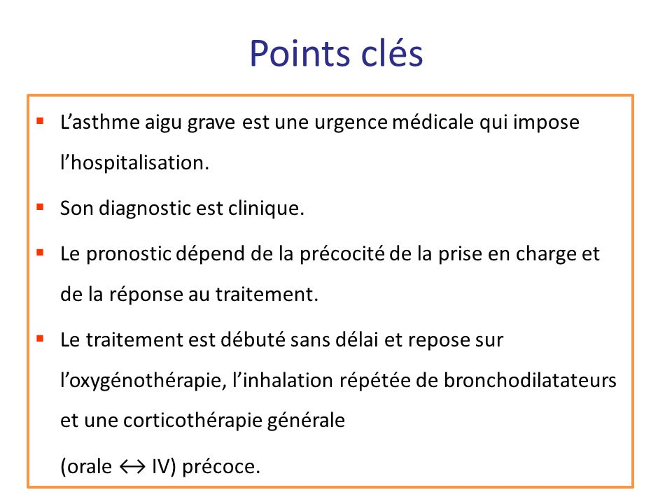 Points clésL'asthme aigu grave est une urgence médicale qui impose l'hospitalisation. Son diagnostic est clinique.