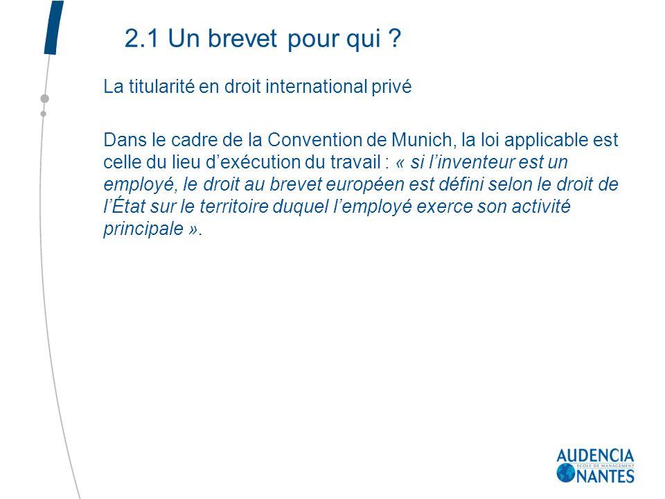 2.1 Un brevet pour qui La titularité en droit international privé