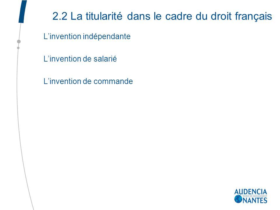 2.2 La titularité dans le cadre du droit français