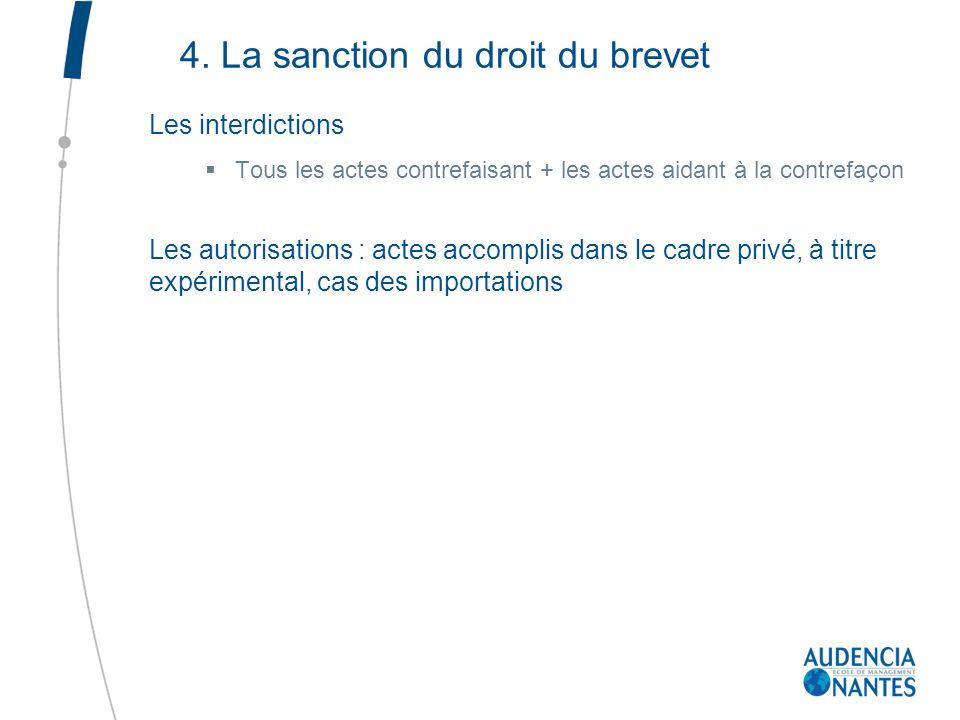 4. La sanction du droit du brevet