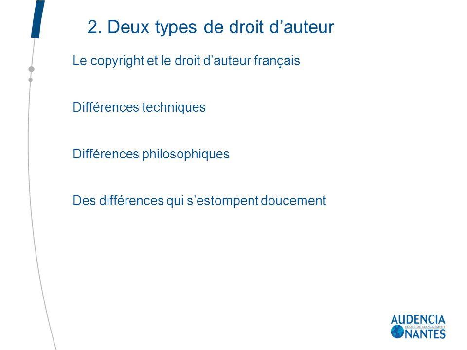 2. Deux types de droit d'auteur