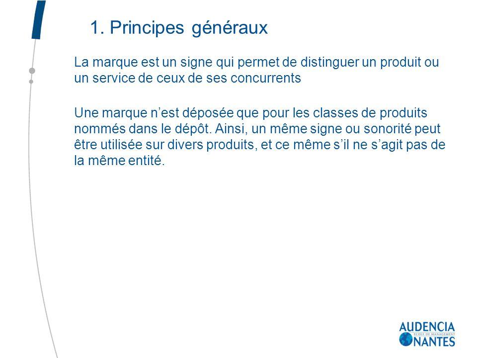 1. Principes généraux La marque est un signe qui permet de distinguer un produit ou un service de ceux de ses concurrents.
