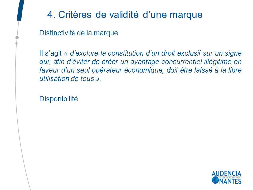 4. Critères de validité d'une marque