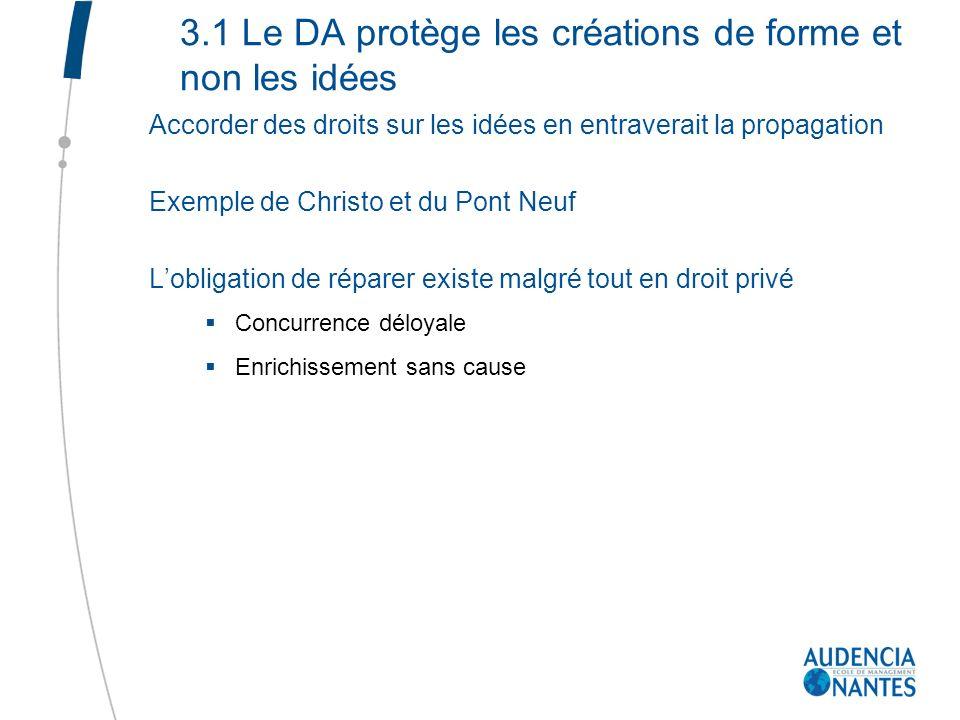 3.1 Le DA protège les créations de forme et non les idées