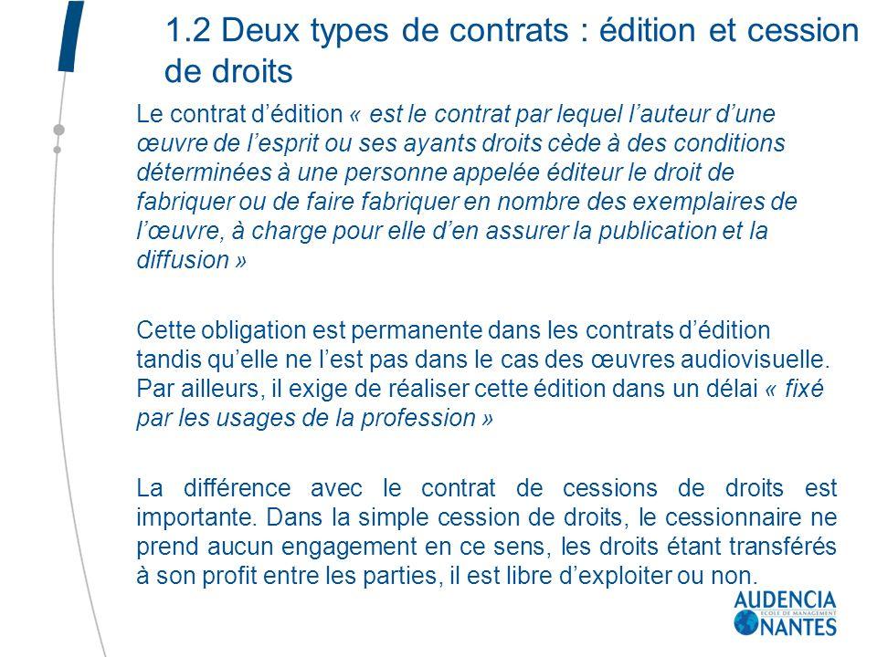 1.2 Deux types de contrats : édition et cession de droits