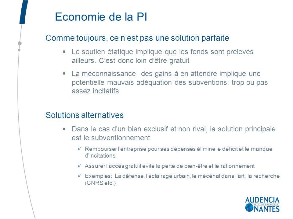 Economie de la PI Comme toujours, ce n'est pas une solution parfaite