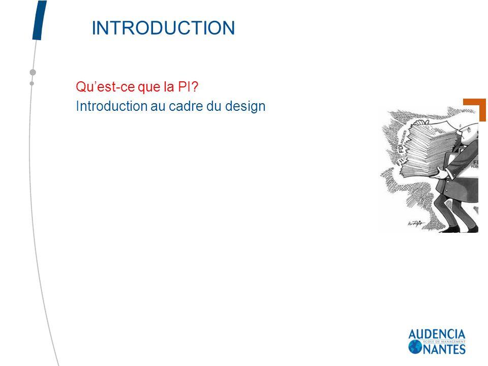 INTRODUCTION Qu'est-ce que la PI Introduction au cadre du design