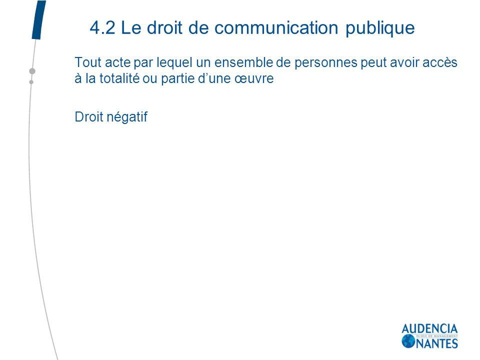 4.2 Le droit de communication publique