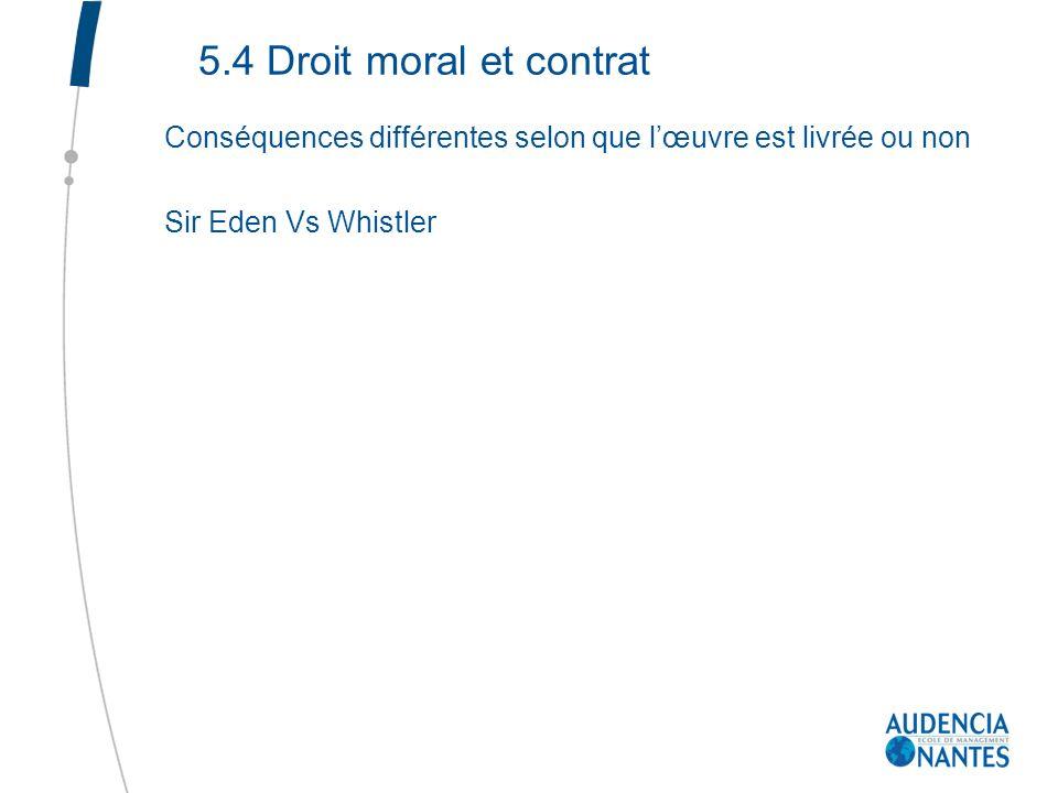 5.4 Droit moral et contrat Conséquences différentes selon que l'œuvre est livrée ou non.