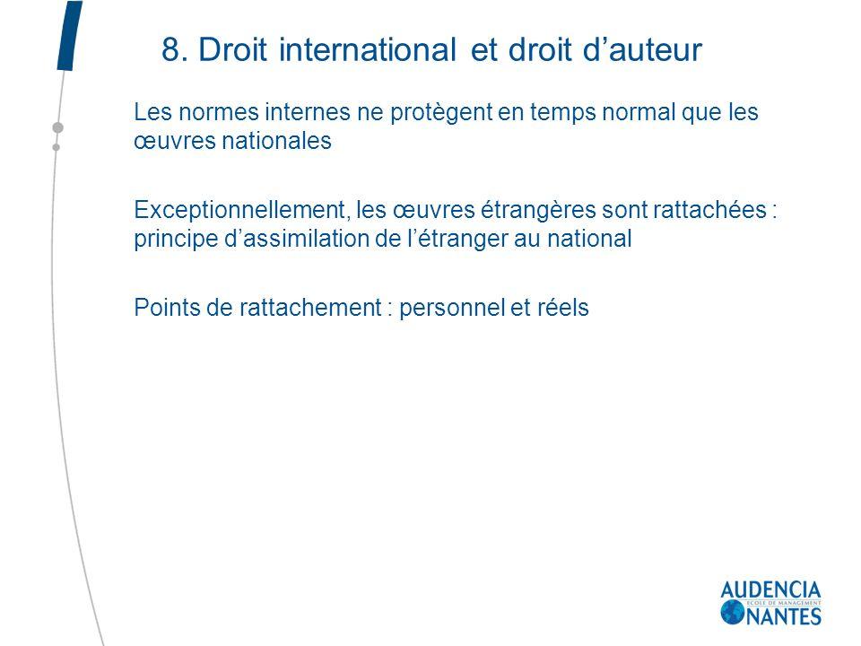 8. Droit international et droit d'auteur