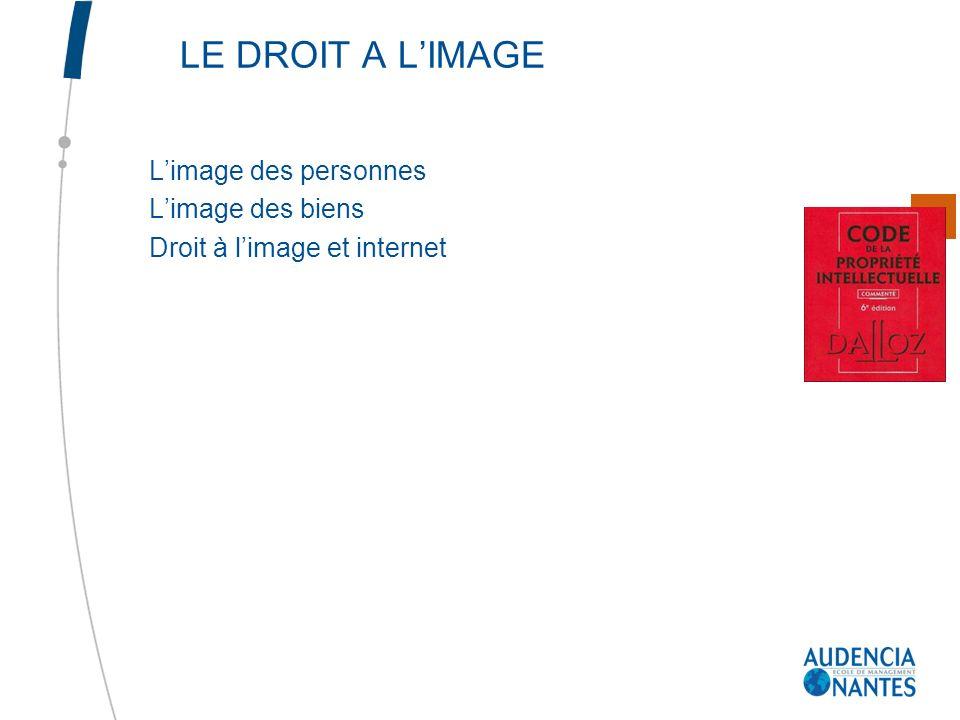 LE DROIT A L'IMAGE L'image des personnes L'image des biens