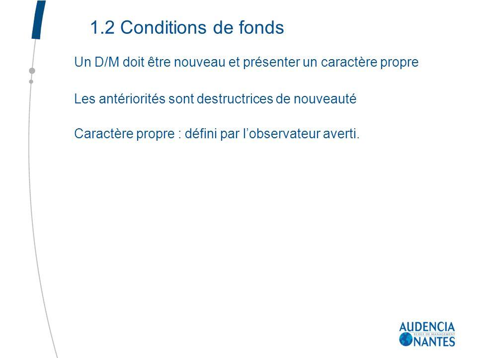 1.2 Conditions de fonds Un D/M doit être nouveau et présenter un caractère propre. Les antériorités sont destructrices de nouveauté.