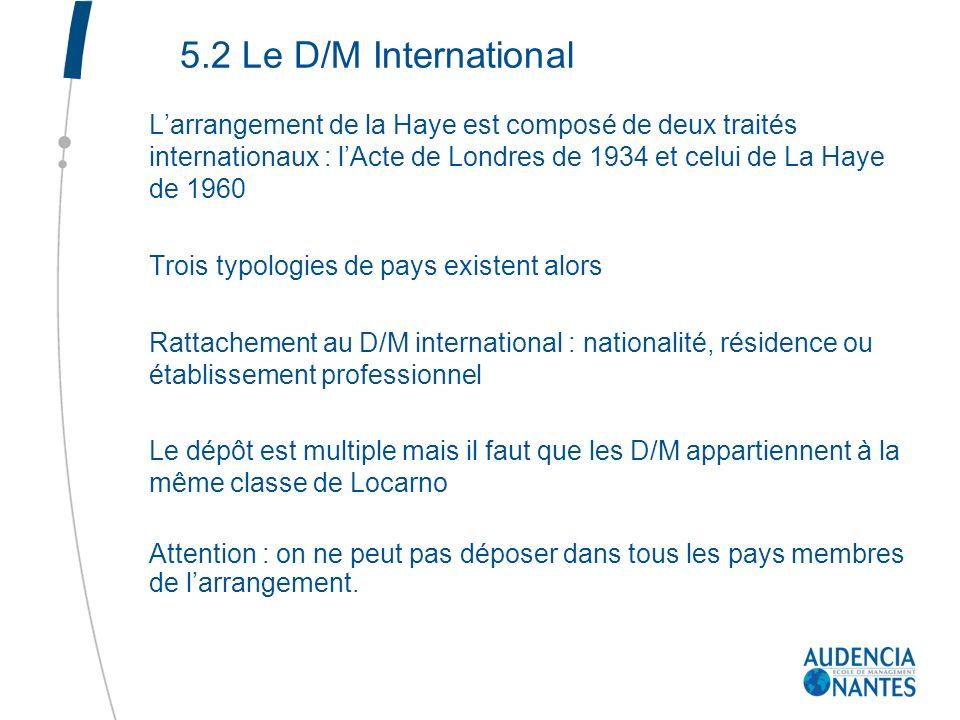 5.2 Le D/M International L'arrangement de la Haye est composé de deux traités internationaux : l'Acte de Londres de 1934 et celui de La Haye de 1960.