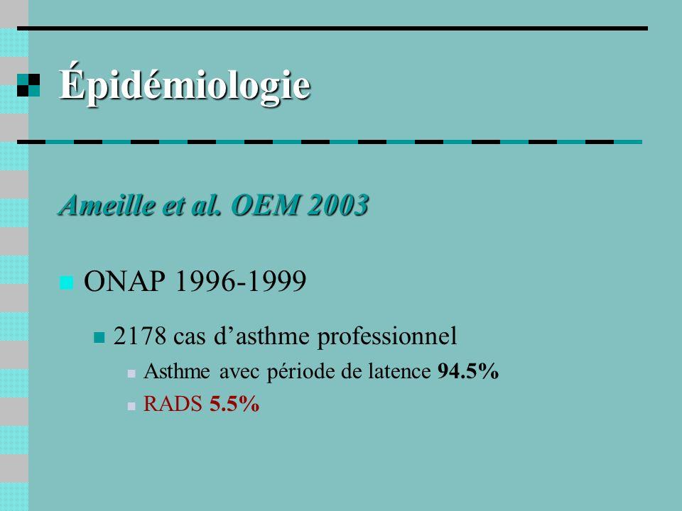 Épidémiologie Ameille et al. OEM 2003 ONAP 1996-1999