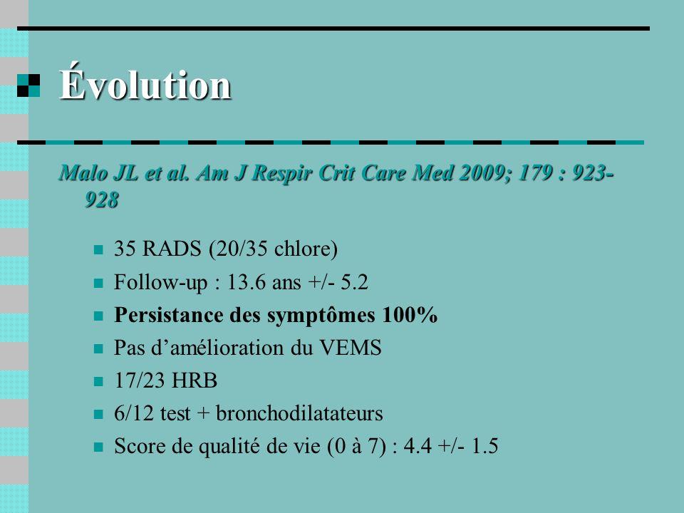 Évolution Malo JL et al. Am J Respir Crit Care Med 2009; 179 : 923-928
