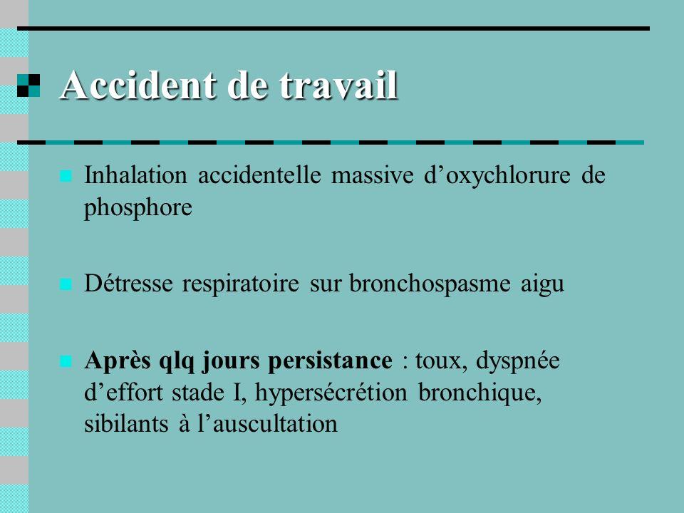 Accident de travail Inhalation accidentelle massive d'oxychlorure de phosphore. Détresse respiratoire sur bronchospasme aigu.