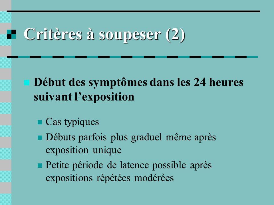 Critères à soupeser (2) Début des symptômes dans les 24 heures suivant l'exposition. Cas typiques.