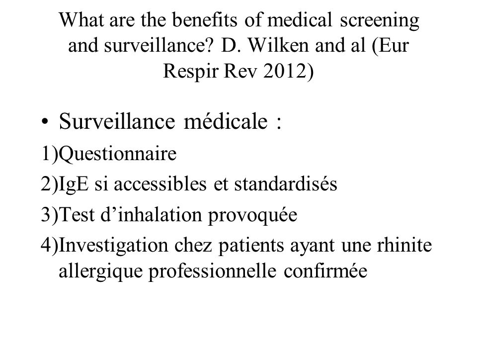 Surveillance médicale :