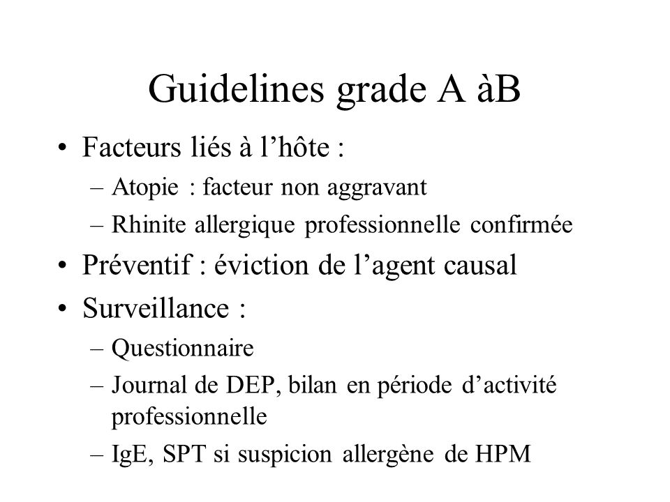 Guidelines grade A àB Facteurs liés à l'hôte :