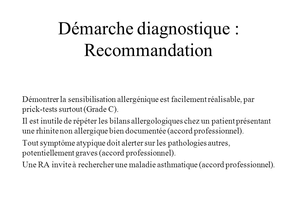Démarche diagnostique : Recommandation