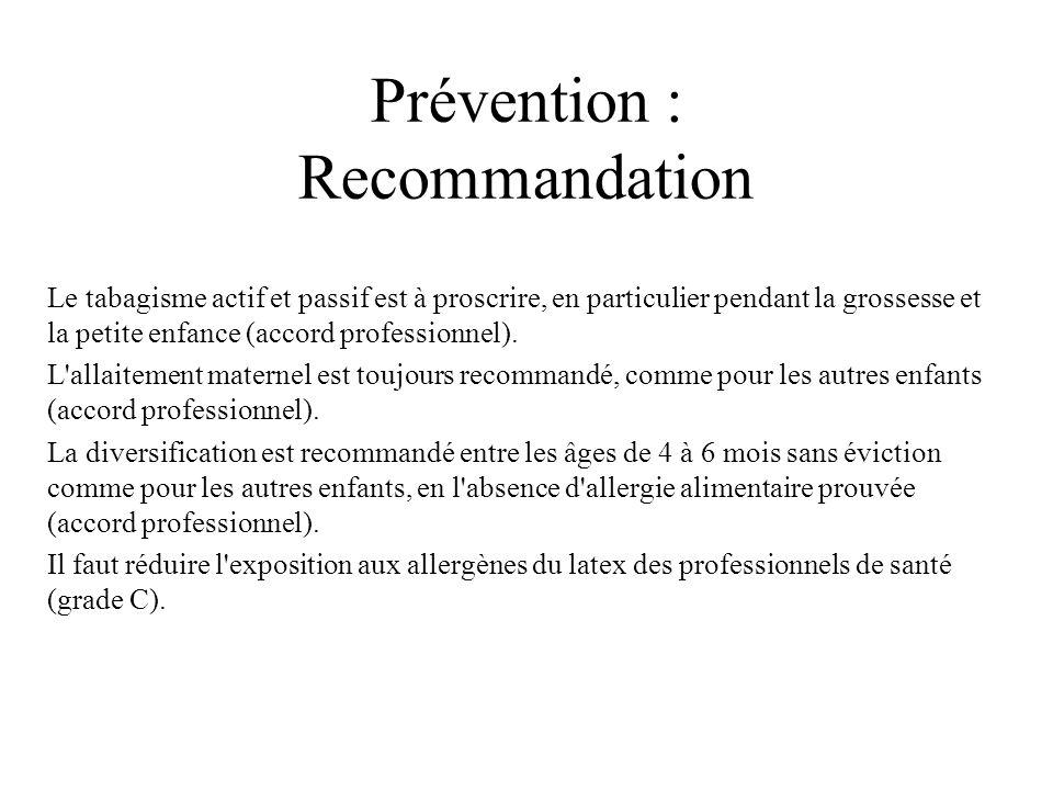 Prévention : Recommandation