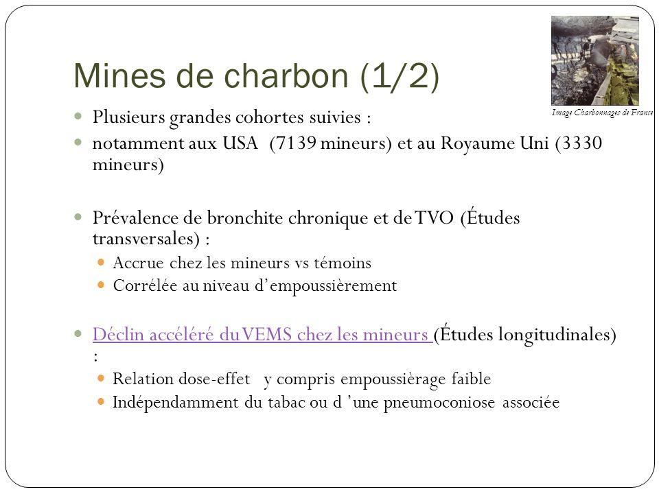 Mines de charbon (1/2) Plusieurs grandes cohortes suivies :